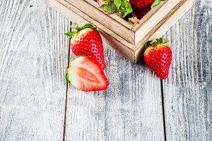 Raw fresh organic strawberry