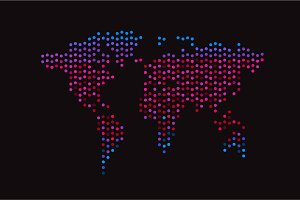 World map halftone neon color pink b