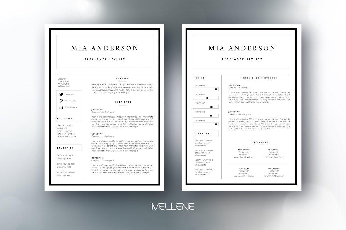 CV / Resume template - Mia