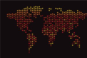 World map halftone neon color yellow