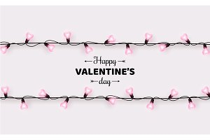 Valentines day, lights border