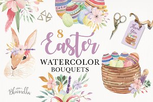 Easter Eggs Bunny Clipart Cute Kits