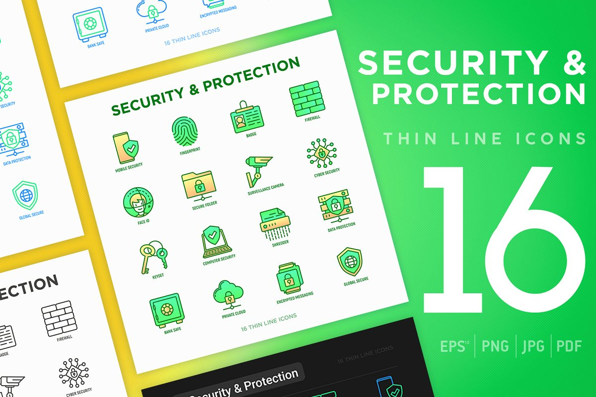 Security Protection | 16 Icons Set