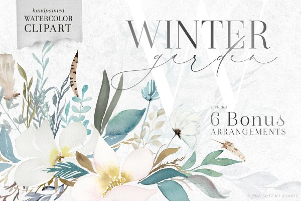 Graphics: The Autumn Rabbit Ltd - Winter Garden - Watercolor Clipart