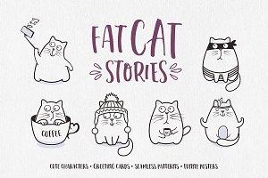 Funny Fat Cats Illustrations