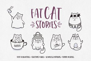 Funny Cat Illustrations Set