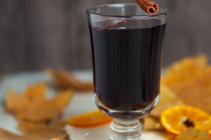 A glass of red wine mulled wine on a