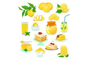 Lemon food vector lemony yellow