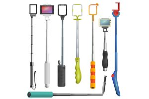 Selfie stick vector monopod with