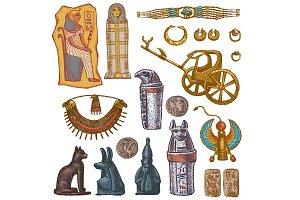 Egyptian vector ancient sarcophagus