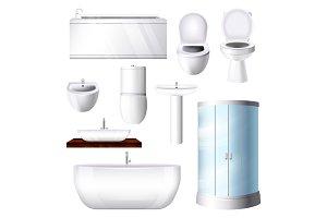 Bathroom interior vector bathtub