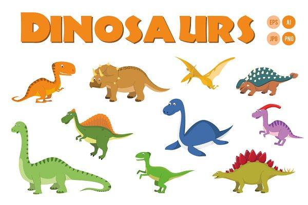 10 Dinosaurs in cartoon style