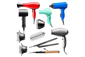 Hair dryer vector fashion hairdryer