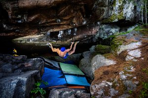 Rock climbing man. Climbing Sport fi