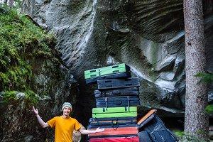 Rock climber demonstraiting a huge p