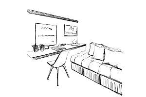 Modern interior sketch. Workplace