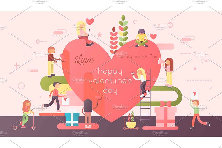 Valentines Day Greeting in Illustrations