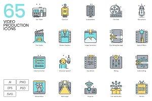 65 Video Production Icons | Aqua