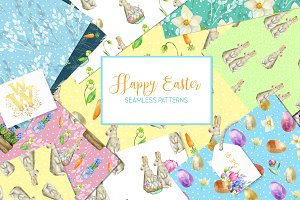 Easter bunny cute seamless paper