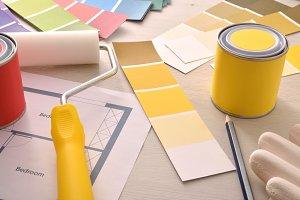 Interior designer desk and paint
