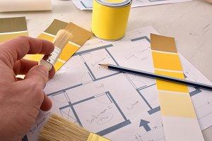 Designer working on interior project