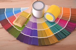 Composition with color chart in fan