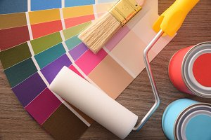 Colour chart pots brush and roller