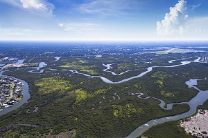 Aerial view of swamps in New Smyrna