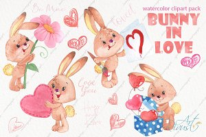 Watercolor bunny and hearts clipart