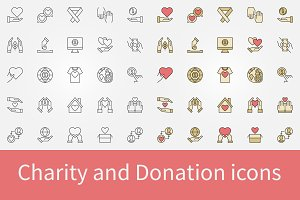 Charity and Donation concept icons