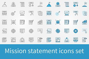 Mission statement icons set
