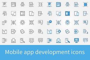 Mobile app development icons set