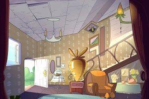 Rabbit house, living room interior