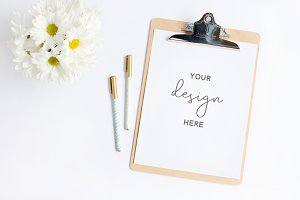 Clipboard Mockup with Daisies