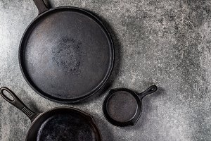 Cast iron Pans or Skillets on Grey