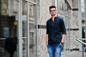 Stylish indian model man in casual c