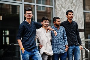 Group of four indian mans, wear on c