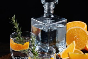 Dry Gin with tonic and orange zest