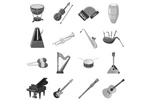 Musical instrument icons set gray