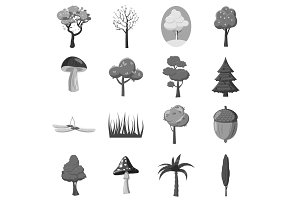 Forest icons elements set, gray