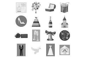 Wedding icons set, gray monochrome