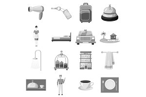Hotel icons set, gray monochrome