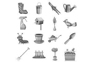 Gardening icons set, gray monochrome