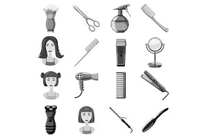 Barber icons set, gray monochrome