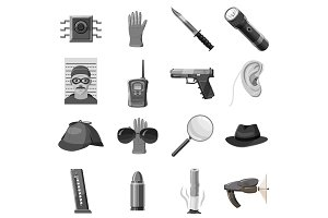 Detective icons set, gray monochrome