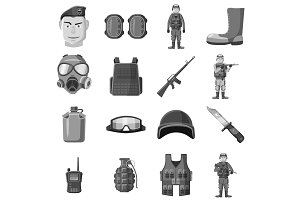 Military equipment icons set gray