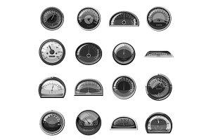 Speedometer icons set, gray