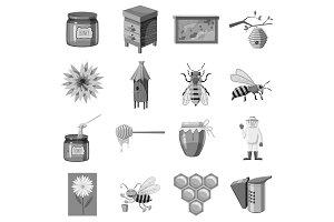 Apiary icons set, gray monochrome