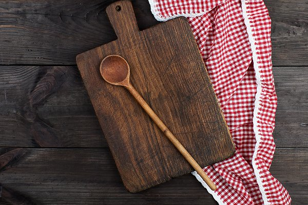 Food Images - wooden kitchen cutting board