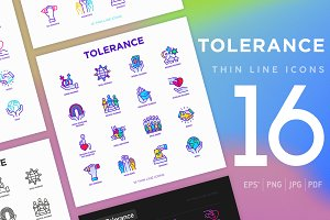 Tolerance | 16 Thin Line Icons Set